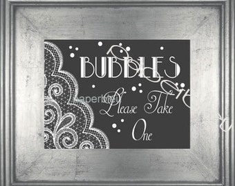 """Weddings Parties """" Bubbles - chalk lace """" Table Sign - DIY Instant Printable Download - Chalk Grey & White -one 8x10 black print"""