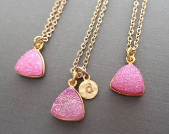 Pink Druzy Necklace - Pink Druzy Gold Initial - Initial Druzy Necklace -Pink Wedding Bridesmaid Gift Sparkly Triangle Drusy Pink-G20