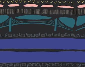 Art Gallery Fabrics, Gramercy Fabric, Leah Duncan Fabric, Brooklyn Bridge Flare, Quilting Cotton, Brooklyn Skyline,Modern Fabric by the yard