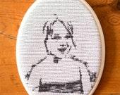 Embroidered framed portre...