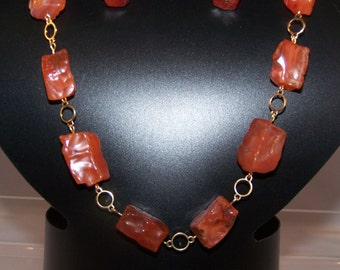 Carnelian Necklace, Energy Stone, Women's Birthday Gifts, Gold Jewelry Set with Earrings, Gemstone, Red, Orange, Anniversary, Mom, Work