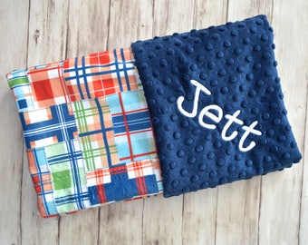 Monogrammed Minky Baby Blanket, Michael Miller Madras Plaid, Navy Blue Personalized Preppy Blanket with Name Newborn, Red, Orange, Green,
