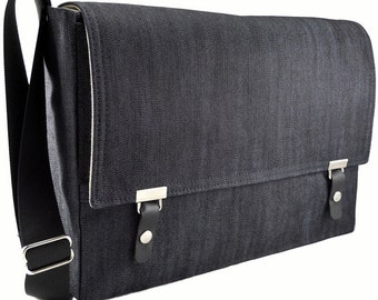 "15"" MacBook Pro messenger bag - dark blue denim"