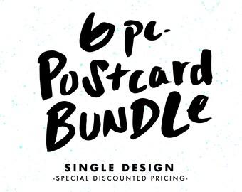 Set of PostCards, 6 Piece Bundle, Single Design, Card Pack