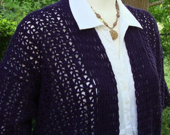 Crochet Cardigan, Kimono Cardigan, Cardigan Women, Violet Cardigan, Women's Cardigan Sweaters, Hemp Cardigan, Available in S/M and M/L