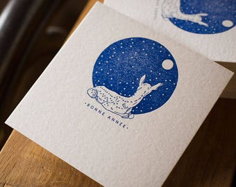 Letterpress greeting card happy new year Fawn