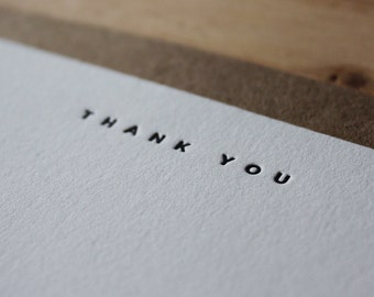Thank You - Letterpress Flat Greeting Card / Note Card / Thanks
