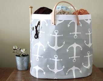 "Knitting bag, Knitting basket, canvas tote - ""Hey Sailor"""