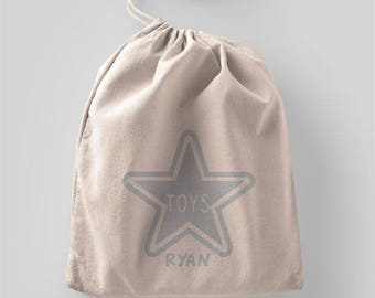 Personalised children's toy drawstring bag large silver star
