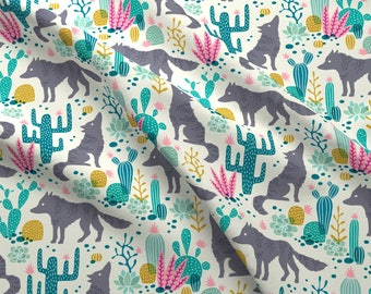 Southwestern Cactus Fabric - Wolf In The Cactus Desert Teal/Pink By Heleen Vd Thillart - Cacti Cotton Fabric By The Yard With Spoonflower