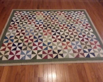 Handmade Hand Quilted Pinwheel Traditional Throw Quilt Red Green Blue Beige