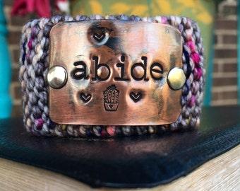 Christian Knit Cuff Bracelet, Hand Stamped Scripture Bracelet for Women, Teacher Gift, Wrist Tattoo Cover, Abide Bracelet
