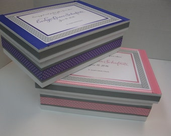 Twin Girl Baptism/Christening Keepsake Boxes- Purple and Gray, Pink and Gray