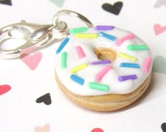 Donut Charm, Food Charm, Polymer Clay Charm, Stitch Marker, Progress Keeper, Planner, Knitter Gift, Knitting Marker, Polymer Clay Donut