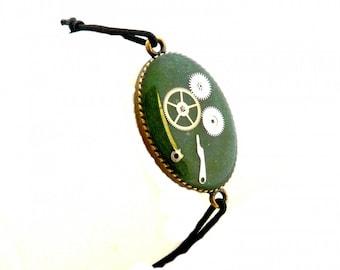 Bracelet elastic green steampunk