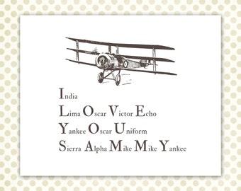 Pilot Alphabet, Aviation Personalized Print, I love you