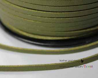 10 Yards 3mm Patent Faux Suede Leather, Olive Coated Suede Leather CS3M155