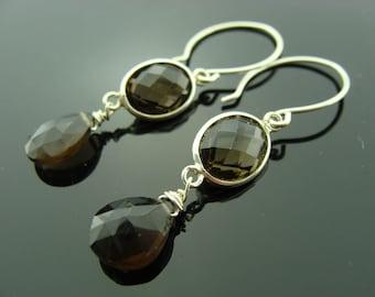 Smoky Quartz Bezel Set 925 Sterling Silver Earrings