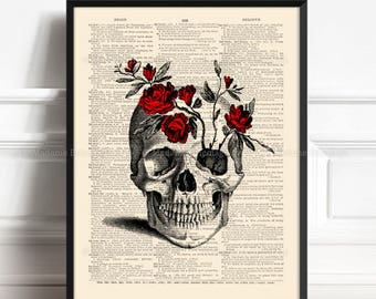 Skull Flowers, Real Skull Decor, Sister Gift, College Dorm Print, Red Rose Decor, Wife Xmas Gift, Rustic Bathroom, Art Print Vintage 429