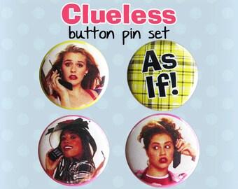 Bouton de Clueless Pins - Cher Horowitz - les films des années 1990 (lot de 4)