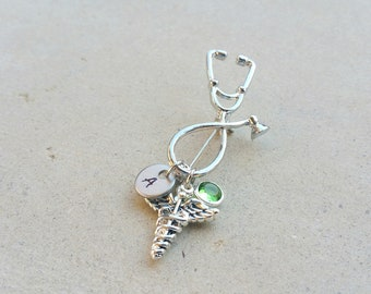 MD Caduceus Medical Stethoscope Handstamped Personalized Initial Letter Birthstone Graduation Gift Brooch Pin