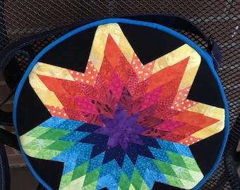 RTS Rainbow star round crossbody bag with adjustable strap
