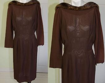 Vintage Phillip Hulitar B Altman Sheer Brown Wiggle Dress with Mink Trim