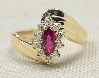 Elegant Polished 14K Yellow Gold 0.95ctw Created Red Ruby Gemstone & Natural Diamond Accented Cocktail Ring FREE SHIPPING! 2017-5970