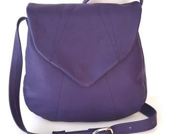 Soft Purple Leather Crossbody Shoulder Bag Medium Size With Pointed Flap