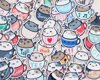 Cats in Cups Stickers   Planner Stickers