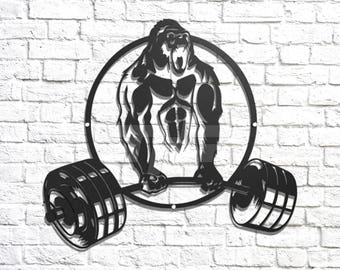 Gym Gorilla Metal Wall Art