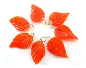 7 Vintage glass leaves dangling beads orange,23mm