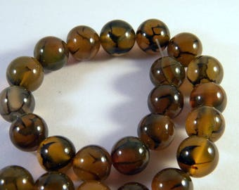 12 mm - Brown dragon veins agate beads 5 amber AG8