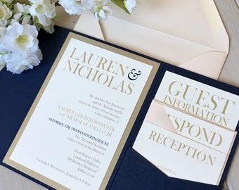 Pocket Invitations, Navy and Blush Invitations, Navy Pocket Invitations, Navy and Gold Invitations, Navy Wedding, Blush Wedding, Monogram