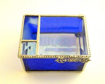 "Cobalt Blue Stained Glass Jewelry Box, Graduation Gift - 3x4x2"""
