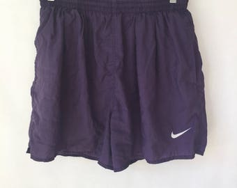 Vintage Nike Swim Trunks - Size Large - Purple - Retro - running Shorts - Short Shorts - Sport Shorts -