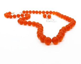 Bright Hyacinth Orange Glass Bead Necklace Set, Knotted 8mm Shiny Finish Glass Beads with Matching Earrings, Jessica Fletcher Style Jewelry