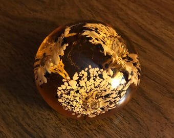Vintage Paperweight/ Glass/ Flowers
