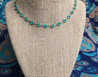 Turquoise Donut Bead Neckace - Donut Bead necklace - happy go lucky necklace