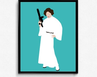 Princess Leia Star Wars Poster- Feminist Print, Minimalist Movie Print