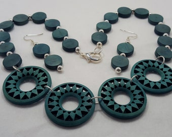 Teal blue-green necklace and earring set