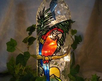 Macaw Parrot Palm Tree Tropical Sunset Wine Bottle lamp