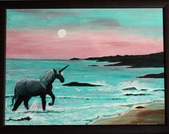 "original framed acrylic painting ""Unicorn Dawn"""
