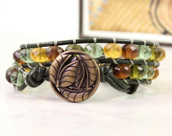 Topaz Gypsy Wrap Bracelet Bohemian Jewelry Lily Pad Wrap Dark Green Leather Bracelet Winter Fashion Accessory Amber Bracelet Pale Blue Olive
