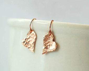 Rose gold heart earrings hammered earrings 14 rose gold filled earrings dainty earrings gift for wife gift for girlfriend anniversary gift