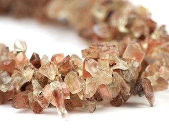 Oregon Sunstone Chip Beads Full Strand Pink Champagne Schiller Ponderosa Semi Precious Gemstones