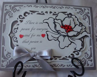 Love Card, Valentines Day Card, 5 X 7, For Him, For Her, 3 dimenstional, Handmade flower, Greeting Card, Handmade,