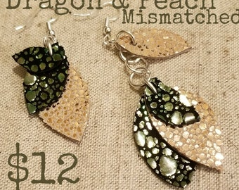 Iridescent Dragon Leather Earrings