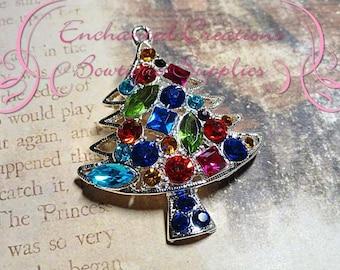 "1.75"" Multicolor Rhinestone Christmas Tree, Winter Chunky Pendant, Keychain, Bookmark, Zipper Pull, Chunky Jewelry, Purse, Planner Charm"