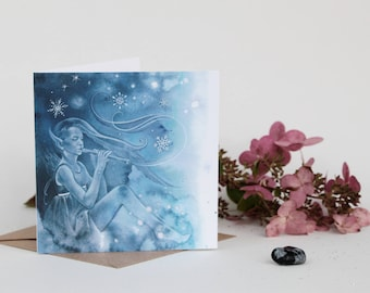 Flute and Snowflakes Fairy Greeting Card
